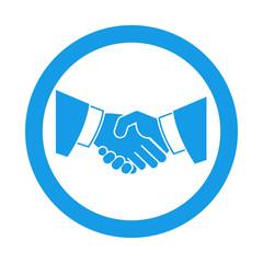 Icono redondo apreton de manos azul