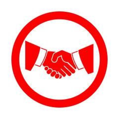 Icono redondo apreton de manos rojo