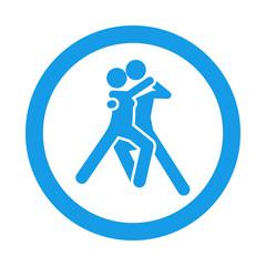 Icono redondo bailarines azul