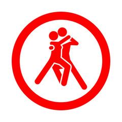 Icono redondo bailarines rojo