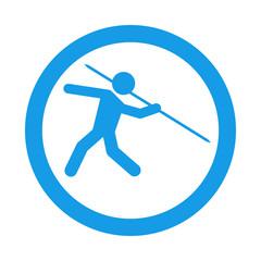 Icono redondo lanzamiento jabalina azul