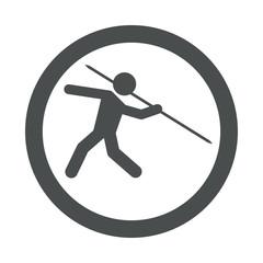 Icono redondo lanzamiento jabalina gris