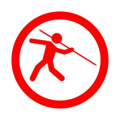 Icono redondo lanzamiento jabalina rojo