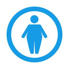 Icono redondo obesidad azul