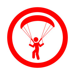 Icono redondo paracaidismo rojo