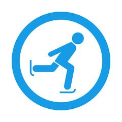 Icono redondo patinaje sobre hielo azul