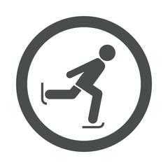 Icono redondo patinaje sobre hielo gris