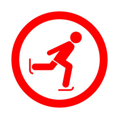 Icono redondo patinaje sobre hielo rojo
