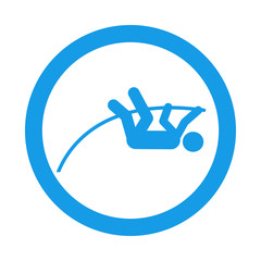 Icono redondo salto de pertiga azul