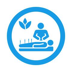 Icono redondo acupuntura azul