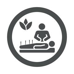 Icono redondo acupuntura gris