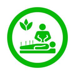 Icono redondo acupuntura verde