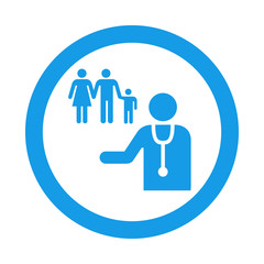 Icono redondo medico de familia azul