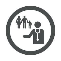 Icono redondo medico de familia gris