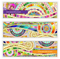 Set abstract doodle  vector cards on wood background.