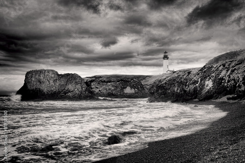 Poster B&W of lighthouse on coast.