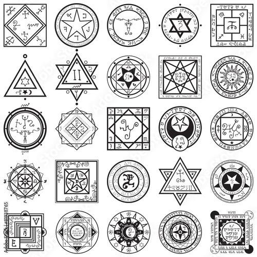 Set of Magic and Alchemy Sigils Vectors - 81938765