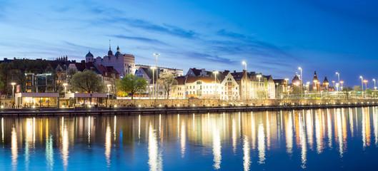 Nocna panorama miasta-Szczecin