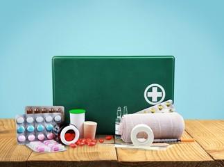 First Aid Kit. First aid equipment