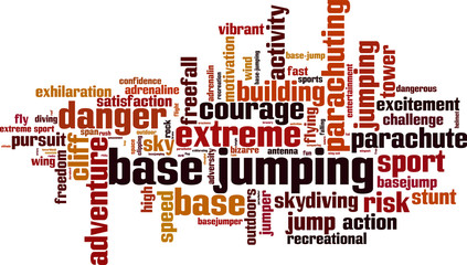 BASE jumping word cloud concept. Vector illustration