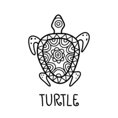 Hand drawn turtle tribal symbol. Vector decorative illustration