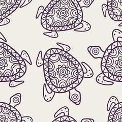Vector seamless decorative pattern. Hand drawn turtle tribal bac