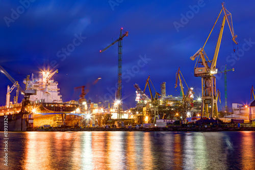 Shipyard at work, ship repair, freight. Industrial - 81939324