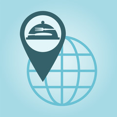 Thin line icon with flat design element of global positioning sy