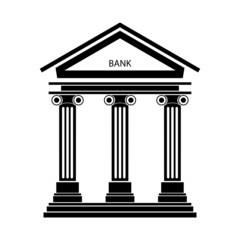 Bank icon with the building facade with three pillars. Vector