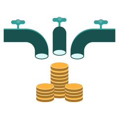 crowd funding, faucet pouring money