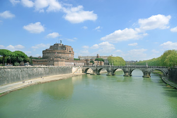 View on famous Saint Angel castle, Rome, Italy.
