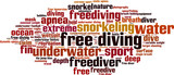 Free diving word cloud concept. Vector illustration
