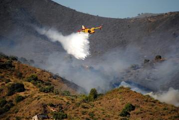 Avión apagando incendio