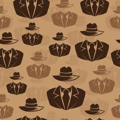 Icon spy, secret agent, Vector seamless background