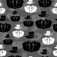 Icon spy, secret agent, Vector seamless background