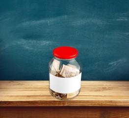 Donation Box. Money jar with blank label