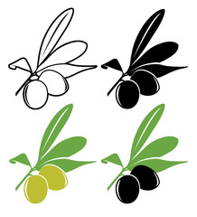 Vector olives in color and black and white