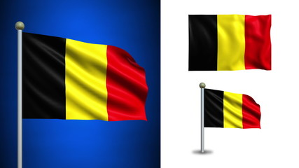 Belgium flag - with Alpha channel, seamless loop!