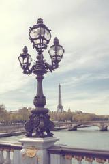 Paris view. Bridge of Alexandre III against the Eiffel Tower