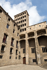 Palau Reial at Placa del Rei in Barcelona