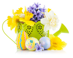 Easter eggs with spring flowers in watering can. Isolated on