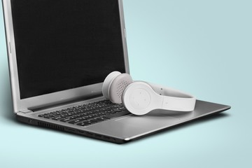 Headphones. Laptop and Headphone