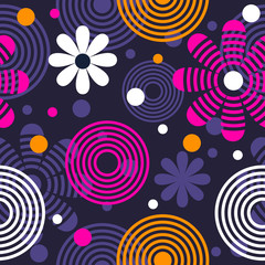 Bright seamless pattern with flowers and circles.