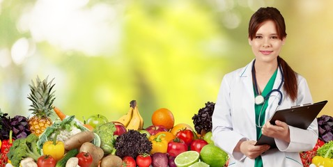 Health. Medical doctor woman over Diet and health care
