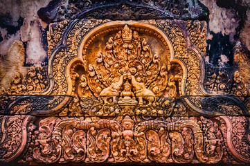 Angkor Banteay Srei temple close-up carving, Cambodia