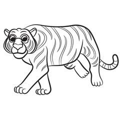 Outlined tiger vector illustration. Isolated on white.
