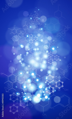 Zdjęcia na płótnie, fototapety, obrazy : Blue radial technology background & chemical formulas