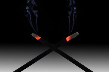 Incense sticks and smoke