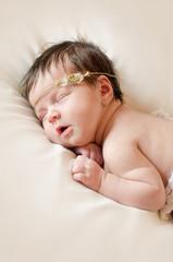 smile sleeping baby