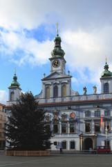 Christmas fir-tree, town hall. Ceske Budejovice, Czech Republic